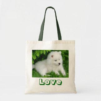 Cute White Samoyed Puppy Dog Canvas Tote Bag