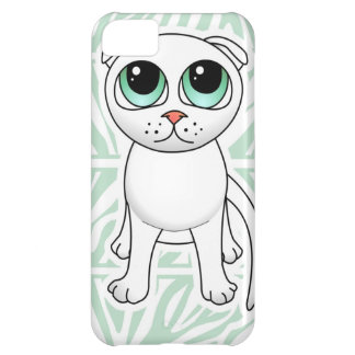 Cute White Scottish Fold Cat Cartoon iPhone 5C Covers