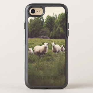 Cute White Sheep & Babies Field Trees Rocks OtterBox Symmetry iPhone 8/7 Case