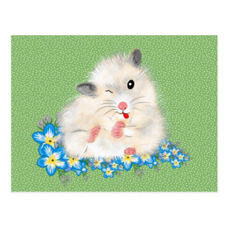Cute white Syrian hamster accessories, green polka Postcard