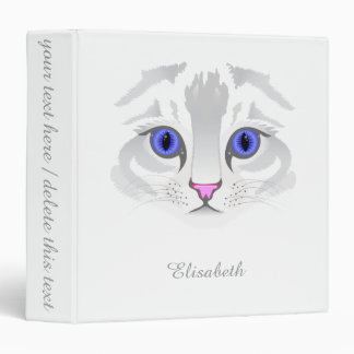 Cute white tabby cat face close up illustration 3 ring binders