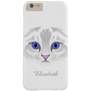 Cute white tabby cat face close up illustration barely there iPhone 6 plus case