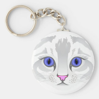Cute white tabby cat face close up illustration basic round button keychain
