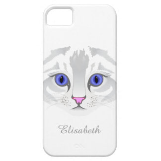 Cute white tabby cat face close up illustration case for the iPhone 5