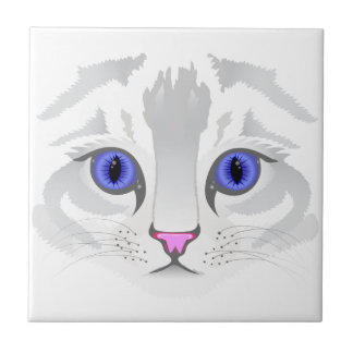Cute white tabby cat face close up illustration ceramic tiles