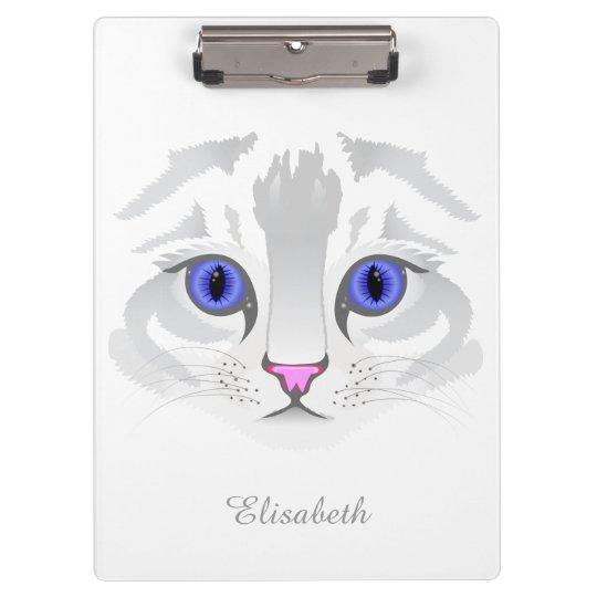 Cute white tabby cat face close up illustration clipboards