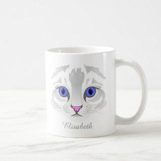 Cute white tabby cat face close up illustration coffee mug
