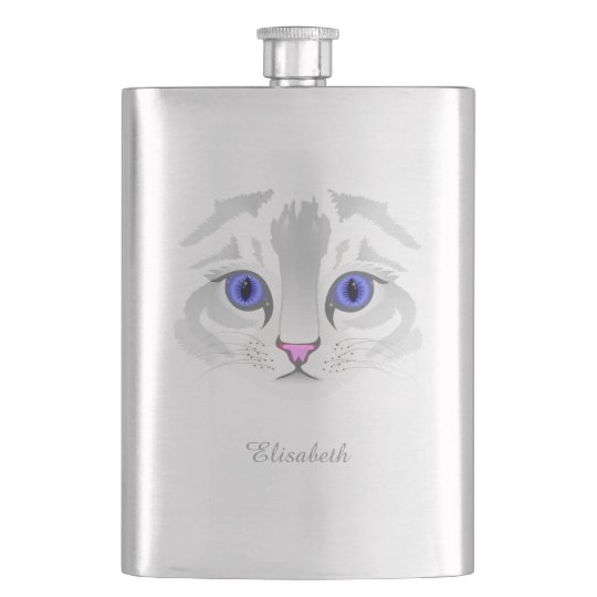 Cute white tabby cat face close up illustration hip flask