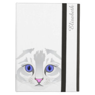 Cute white tabby cat face close up illustration iPad air covers