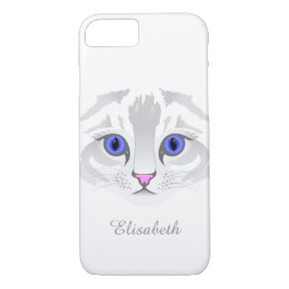 Cute white tabby cat face close up illustration iPhone 7 case