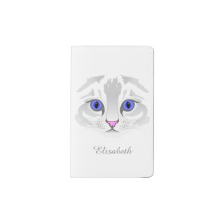 Cute white tabby cat face close up illustration pocket moleskine notebook