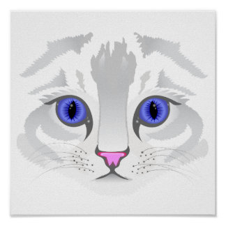 Cute white tabby cat face close up illustration poster