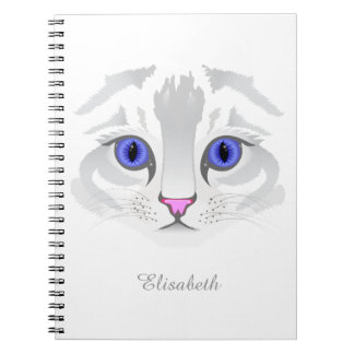 Cute white tabby cat face close up illustration spiral note book
