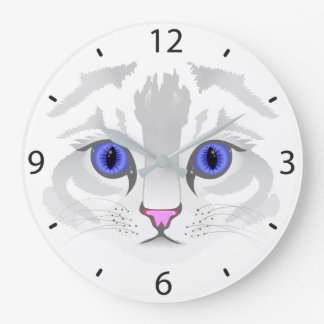 Cute white tabby cat face close up illustration wallclock