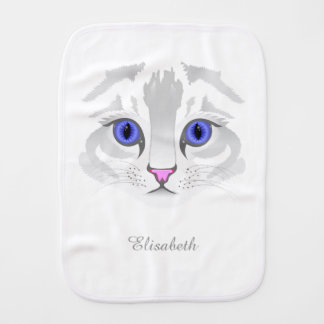 Cute white tabby cat face illustration name baby burp cloth