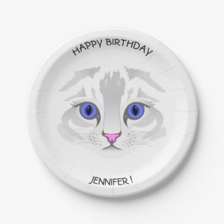 Cute white tabby cat face kids name birthday 7 inch paper plate