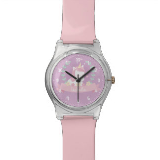 Cute White Unicorn Flowers and Wreath Girls Watch