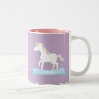 Cute White Unicorn Girls Personalized Purple Mug