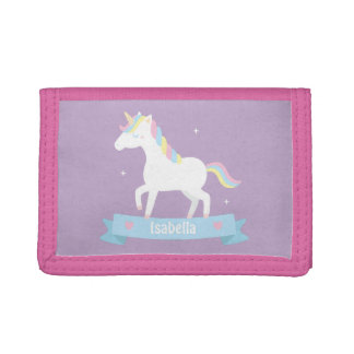 Cute White Unicorn Girls Personalized Wallet