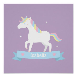 Cute White Unicorn Girls Room Wall Decor