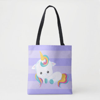Cute White Unicorn Lying Down w/Purple Stripes Tote Bag