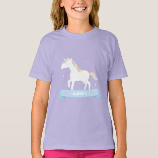Cute White Unicorn Pastel Mane Girls Name Tee