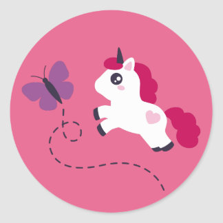 Cute White Unicorn with a Butterfly Classic Round Sticker
