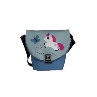 Cute White Unicorn with a Butterfly Commuter Bag