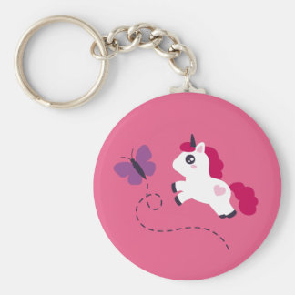 Cute White Unicorn with a Butterfly Keychain