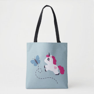 Cute White Unicorn with a Butterfly Tote Bag