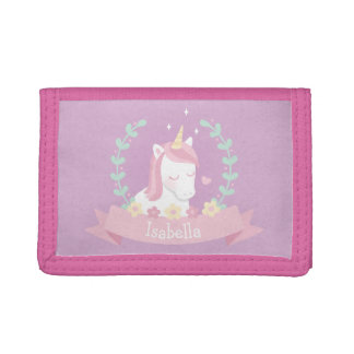 Cute White Unicorn with Flowers Wreath Kids Wallet