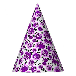Cute white violet roses patterns party hat