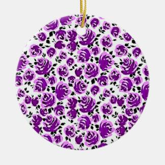 Cute white violet roses patterns round ceramic ornament