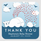 Cute White Whales Couple Baby Thank You Stickers
