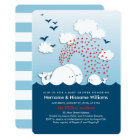 Cute White Whales Couples Baby Shower Invite