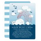 Cute White Whales Couples Bring a Book Insert Card