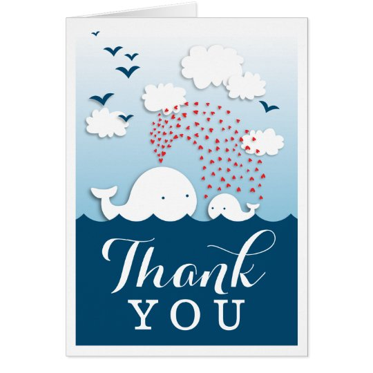 Cute White Whales Stylish Thank You Note Card