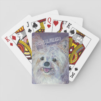 CUTE WHITE YORKIE MIX PLAYING CARDS