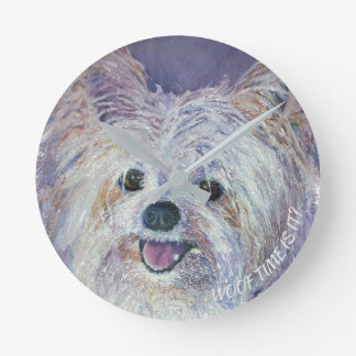 CUTE WHITE YORKIE MIX ROUND CLOCK
