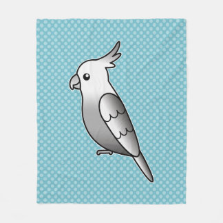 Cute Whiteface Cockatiel Cartoon Bird Illustration Fleece Blanket