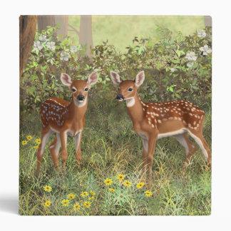 Cute Whitetail Deer Twin Fawns Vinyl Binder