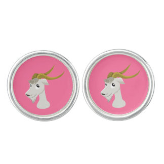 Cute wild goat cartoon cufflinks