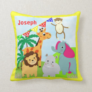 Cute Wild Jungle Animals Picture Throw Pillow