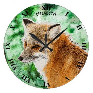Cute Wild Red Fox Drawing Large Clock