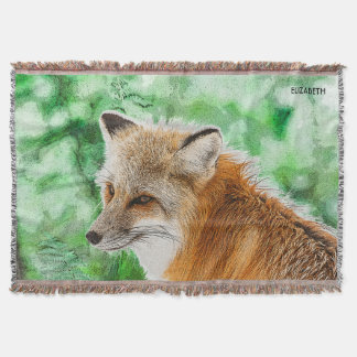 Cute Wild Red Fox Drawing Throw Blanket