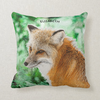 Cute Wild Red Fox Drawing Throw Pillow