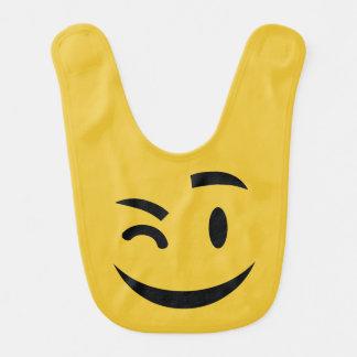 Cute winking at you emoji bibs