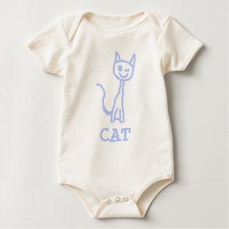 Cute winking cat. Blue. Baby Bodysuit