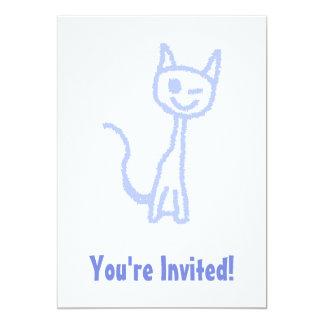 "Cute winking cat. Blue. 5"" X 7"" Invitation Card"