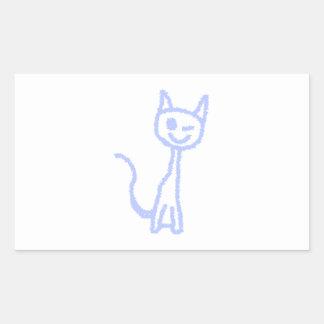 Cute winking cat. Blue. Sticker
